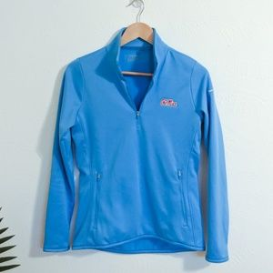 Nike Ole Miss Quarter Zip Golf Pullover Blue